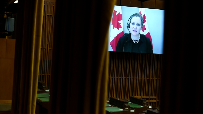 Deputy Prime Minister and Minister of Finance Chrystia Freeland is seen via videoconference as she rises during Question Period in the House of Commons on Parliament Hill in Ottawa on Thursday, Feb. 25, 2021. (THE CANADIAN PRESS / Justin Tang)