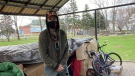 Craig Beddows, 35, is currently living in a gazebo at Memorial park in the downtown core. April 18/21 (Alana Everson/CTV News Northern Ontario)