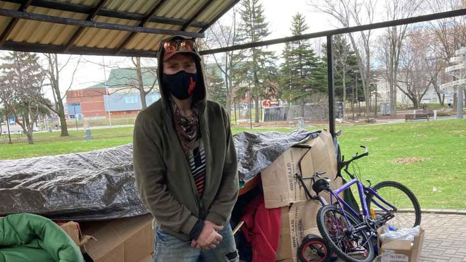 Craig Beddows, 35, is currently living in a gazebo at Memorial park in Sudbury's downtown core. April 18/21 (Alana Everson/CTV News Northern Ontario)