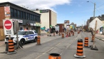 Construction on Montreal Road will keep the street in the heart of Vanier closed to all but a single westbound lane until late 2022. (Dave Charbonneau / CTV News Ottawa)