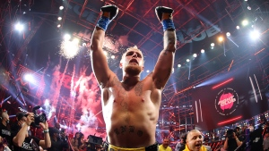 Jake Paul celebrates after defeating Ben Askren in their cruiserweight bout during Triller Fight Club at Mercedes-Benz Stadium on April 17 in Atlanta. (Al Bello/Getty Images/CNN)