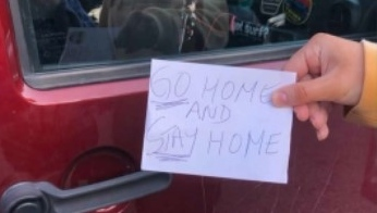 A UBC student says she received this note on her car, which was Ontario license plates (Submitted photo).