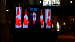 Prime Minister Justin Trudeau gives a virtual tribute at the National Commemorative Ceremony in honour of Prince Philip, The Duke of Edinburgh, at Christ Church Cathedral in Ottawa on Saturday, April 17, 2021. THE CANADIAN PRESS/Sean Kilpatrick