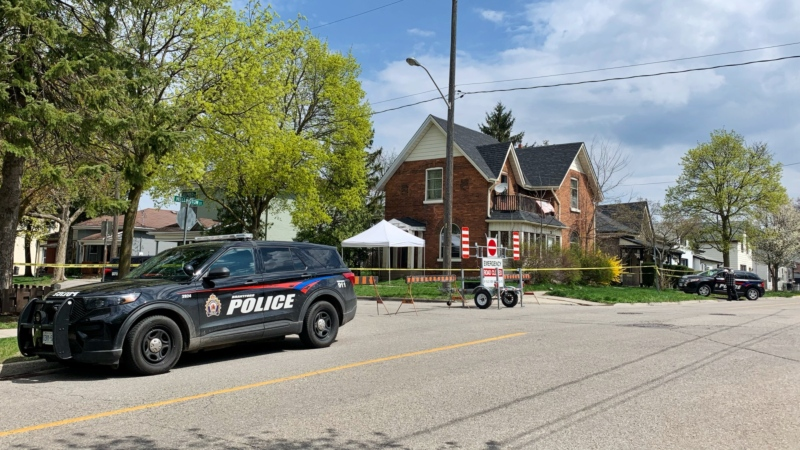 Brantford police on scene of a fatal shooting investigation. (Carmen Wong/CTV Kitchener) (Apr. 18, 2021)