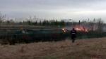 Fire threatens railway tracks in Strathcona County