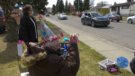 Lawrence Summers celebrated his 94th birthday with a surprise drive-by party. Sunday April 18, 2021 (CTV News Edmonton)