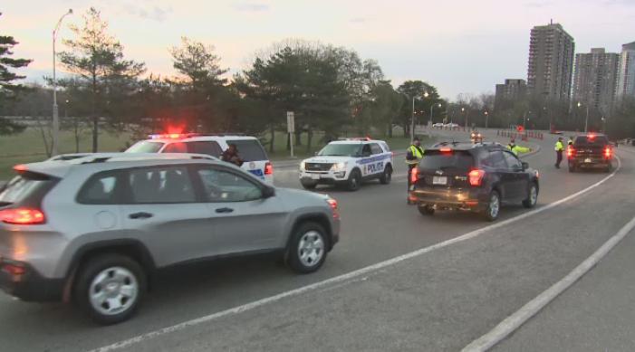 Ottawa police set up a checkpoint at the Champlain Bridge between Ottawa and Gatineau on Monday, April 19, 2021.