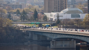Police checkpoints backed up traffic on the MacDonald-Cartier Bridge on Monday morning. (Photo courtesy Richard Hum)