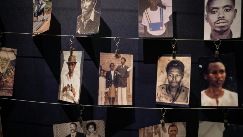 Photos of victims displayed at the Kigali Genocide Memorial. (AFP)