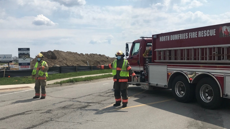 Fire officials block a street in North Dumfries due to a gas leak (Dan Lauckner / CTV News Kitchener)