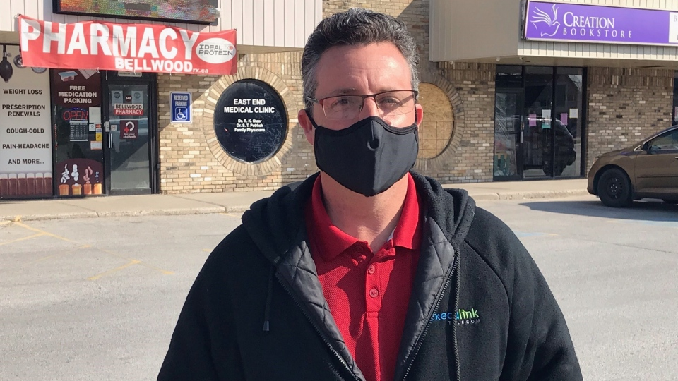 Wes Bydeweg is about '80 per cent' certain he will now book an appointment for an AstraZeneca vaccine. He is seen out front of the Bellwood Pharmacy in London, Ont. where he inquired about getting an appoint, Monday, April 19, 2021. (Sean Irvine / CTV News)