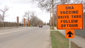 The Saskatoon drive-thru COVID-19 vaccine clinic is pictured April 19, 2021. (Dale Cooper/CTV Saskatoon)