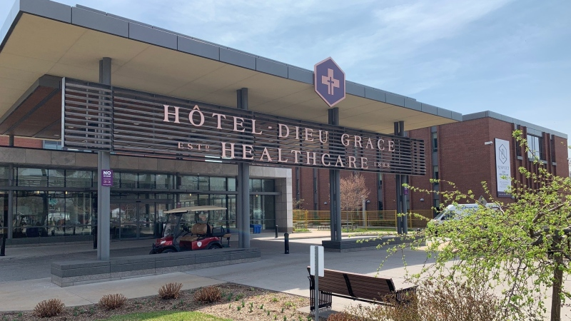 Hotel Dieu Grace Healthcare in Windsor, Ont., on Monday, April 19, 2021. (Chris Campbell / CTV Windsor)