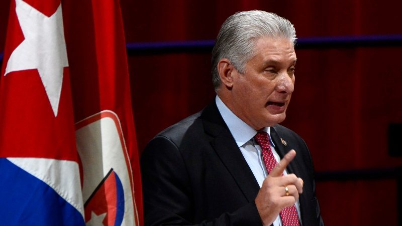 Cuba's President Miguel Diaz-Canel addresses party delegates after being elected First Secretary of the Communist Party during the 8th Cuban Communist Party's closing session at Convention Palace in Havana, Cuba, Monday, April. 19, 2021. (Ariel Ley Royero/ACN via AP)