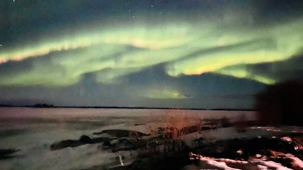 Last nights show of the beautiful northern lights . Photo by Virginia Beardy.