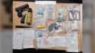 Drugs, weapon and cash seized in drug bust in Leamington, Ont. on Thursday, April 15, 2021. (courtesy Essex County OPP)