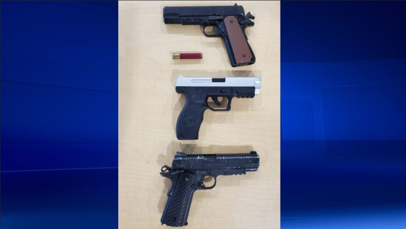 Replica handguns seized by London police on April 16, 2021. (Supplied)