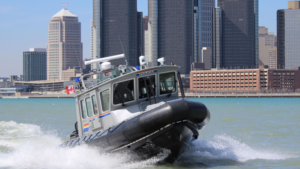 Police boat on the Detroit River in Windsor, Ont.