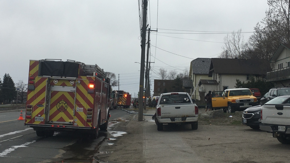 Firefighters from three Sudbury stations on Lorne