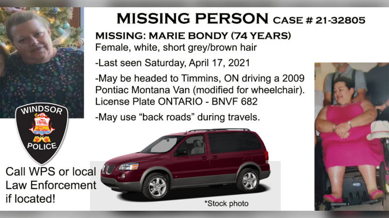 Windsor police are asking residents to call their local police service if Marie Bondy is located. (courtesy Windsor Police Service)