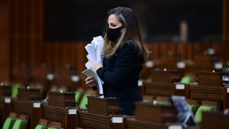 Finance Minister Chrystia Freeland arrives to deliver the federal budget in the House of Commons in Ottawa on Monday April 19, 2021. (THE CANADIAN PRESS / Sean Kilpatrick)