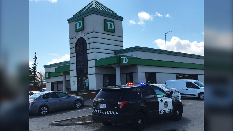 Police are investigating after a TD Bank in northwest Calgary was robbed Monday afternoon