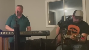 Two Sudbury musicians perform 'Take it Easy'