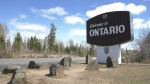 The Manitoba-Ontario border is pictured on April 19, 2021. (CTV News Photo Scott Andersson)