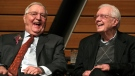 In this Saturday, Jan. 13, 2018, file photo, former Vice President Walter Mondale, left, sits onstage with former President Jimmy Carter during a celebration of Mondale's 90th birthday at the McNamara Alumni Center on the University of Minnesota's campus, in Minneapolis. (Anthony Souffle/Star Tribune via AP, File)