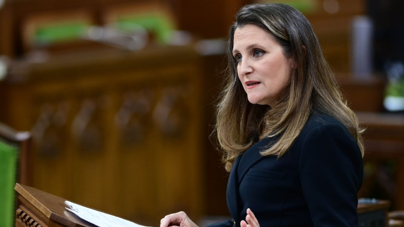 Finance Minister Chrystia Freeland delivers the federal budget in the House of Commons in Ottawa on Monday April 19, 2021. THE CANADIAN PRESS/Sean Kilpatrick