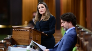 Finance Minister Chrystia Freeland delivers the federal budget in the House of Commons as Prime Minister Justin Trudeau looks on in Ottawa on Monday April 19, 2021. THE CANADIAN PRESS/Sean Kilpatrick