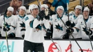 San Jose Sharks center Patrick Marleau (12) motions to the crowd during a break to mark his passing Gordie Howe for most NHL games played in the first period of an NHL hockey game Monday, April 19, 2021, in Las Vegas. (AP Photo/John Locher)