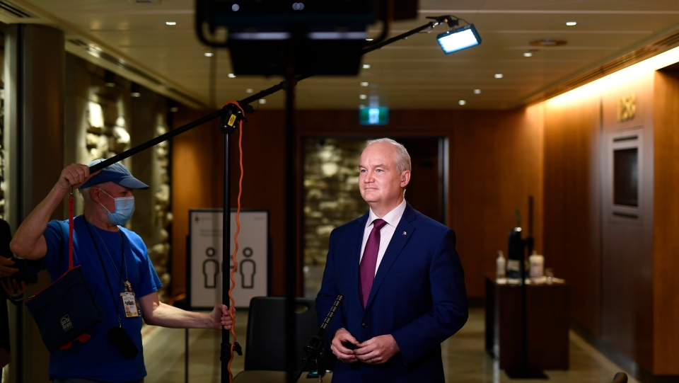 Conservative Leader Erin O'Toole participates in a remote TV interview as he reacts to the tabling of federal budget in Ottawa, on Monday, April 19, 2021. (THE CANADIAN PRESS/Justin Tang)