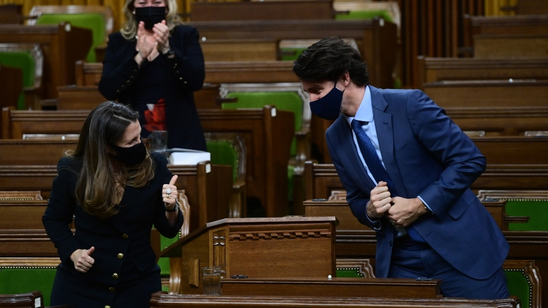 Finance Minister Chrystia Freeland gives the thumbs up to Prime Minister Justin Trudeau after she delivered the federal budget in the House of Commons in Ottawa on Monday April 19, 2021. THE CANADIAN PRESS/Sean Kilpatrick