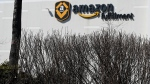 Used masks are stuck in the bushes outside the Amazon Fulfillment Centre during the COVID-19 pandemic in Brampton, Ont., on Monday, March 15, 2021. THE CANADIAN PRESS/Nathan Denette