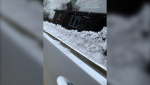 A light dusting of snow on a car in Sudbury. April 20/21 (Chelsea Papineau/CTV Northern Ontario)