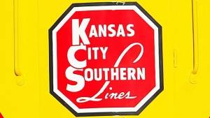 The Kansas City Southern logo on a restored 1954 Kansas City Southern passenger locomotive at Union Station in Kansas City, Mo., on Nov. 5, 2004. (Norman Ng / The Kansas City Star via AP)