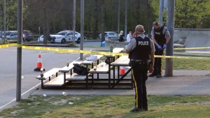 Homicide investigators say one man died after a shooting at a busy Coquitlam Park on April 19, 2021.