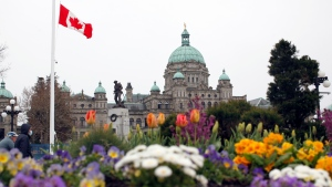 The B.C. Legislature is seen on April 9, 2021. THE CANADIAN PRESS/Chad Hipolito