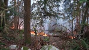 Crews battled a blaze on Burnaby Mountain near the Trans Mountain tank farm on April 19, 2021.