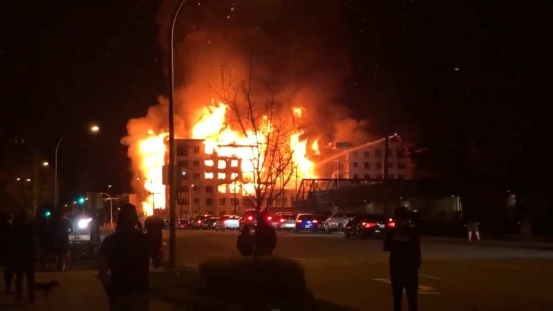 A large fire at a construction site in Langley on April 19, 2021, forced dozens of nearby residents to evacuate their homes in case the flames spread.