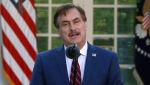 In this March 30, 2020 file photo, My Pillow CEO Mike Lindell speaks in the Rose Garden of the White House in Washington. (AP Photo/Alex Brandon File)