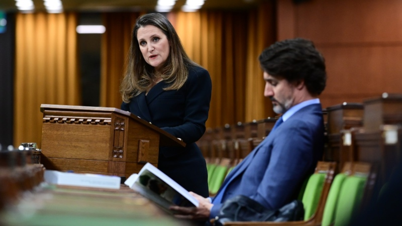 Finance Minister Chrystia Freeland delivers the federal budget in the House of Commons as Prime Minister Justin Trudeau listens, on April 19, 2021. (Sean Kilpatrick / THE CANADIAN PRESS)