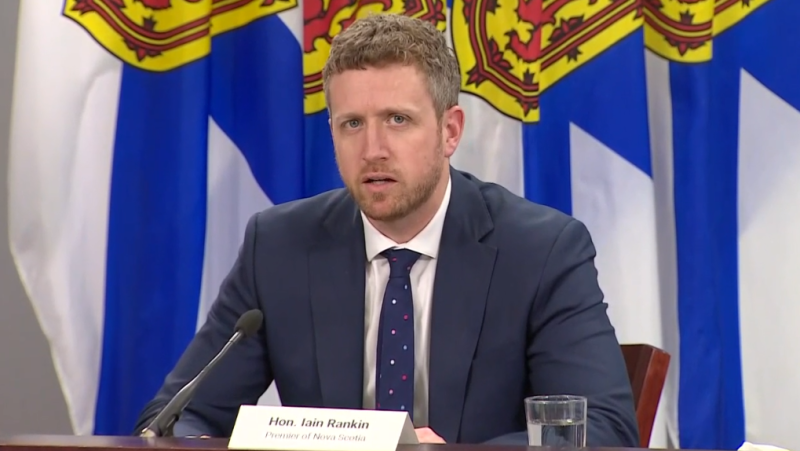 Nova Scotia Premier Iain Rankin speaks at a COVID-19 media briefing in Halifax on April 20, 2021.
