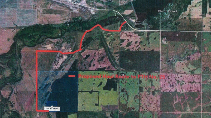 The site of a proposed gravel pit near Rivers, Manitoba, that is facing some backlash from residents. (Source: Application for Conditional Use/Riverdale Municipality)