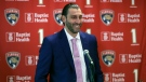 Former Florida Panthers goalie Roberto Luongo smiles as he speaks during a news conference before a jersey retirement ceremony, Saturday, March 7, 2020, in Sunrise, Fla. (AP Photo/Wilfredo Lee)