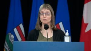 Alberta's chief medical officer of health Dr. Deena Hinshaw provided, from Edmonton on Thursday, April 15, 2021, an update on COVID-19 and the ongoing work to protect public health. (photography by Chris Schwarz/Government of Alberta)