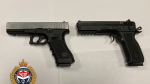 Police say a loaded handgun (right) and replica firearm (left) were seized during a traffic stop over the weekend: (Victoria Police)