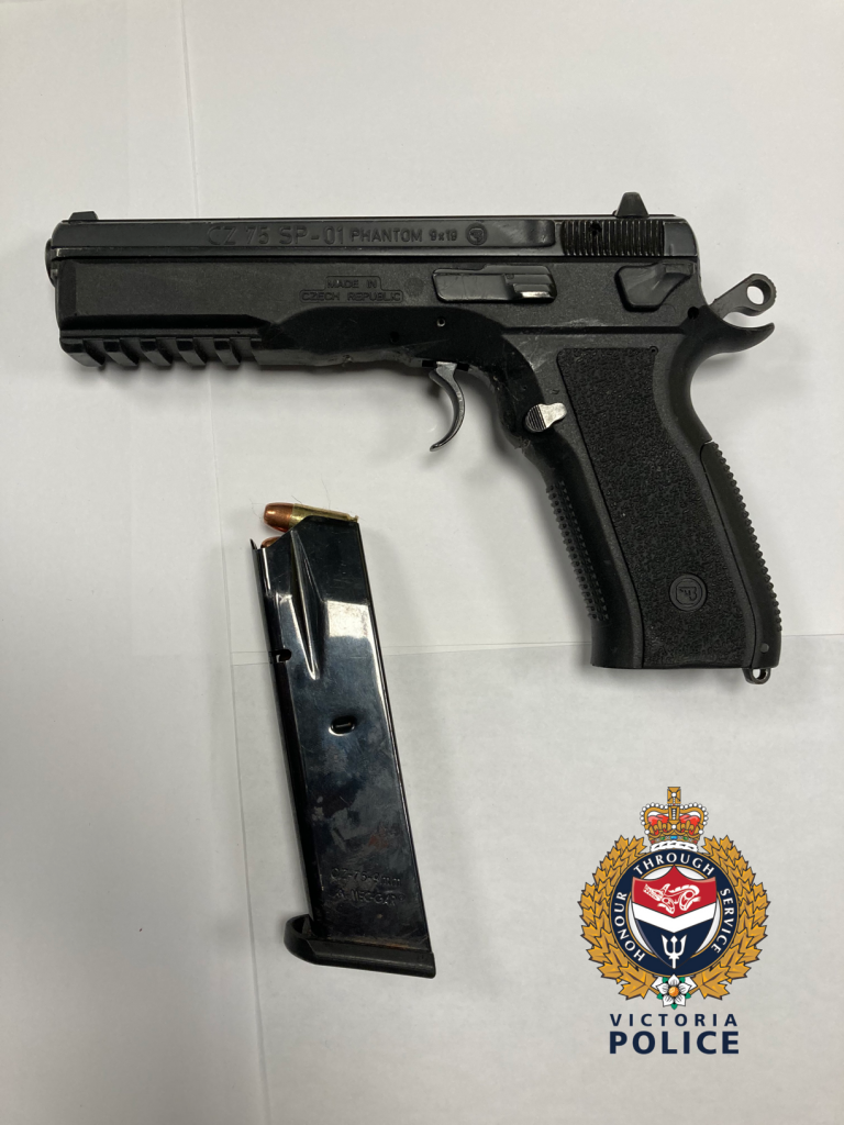 The loaded handgun seized by police is shown: (Victoria Police)