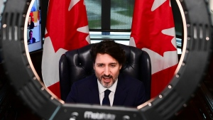 Prime Minister Justin Trudeau in his office on Parliament Hill in Ottawa on Tuesday, April 20, 2021. THE CANADIAN PRESS/Sean Kilpatrick